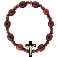 Rosary Decade Beaded Stretchable Bracelet - Cherry Wood - Made in Brazil
