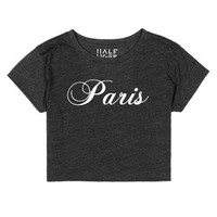 Paris White Script-Female Heather Onyx T-Shirt