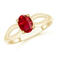 Classic Solitaire Oval Ruby Split Shank Ring