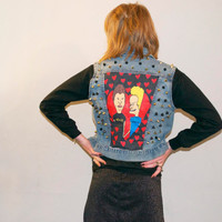 Beavis and Butt-Head Lovers Studded Vest// Custom made