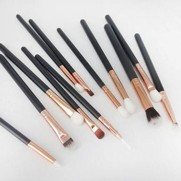 Rose Gold 12Pcs Cosmetic Brushes Makeup Brush Set Professional Foundation Powder Brush Kits Tools