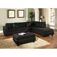 Dallin Sectional Sofa and Ottoman - Black - Right Side Chaise