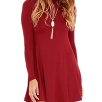 Persun Women's High Neck Long Sleeve Skater Mini Dress,XL,Red