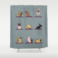 Frenchie Yoga Shower Curtain by Huebucket