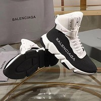 Balenciaga Speed Trainers Black/ White With White Sole Unit Sneakers