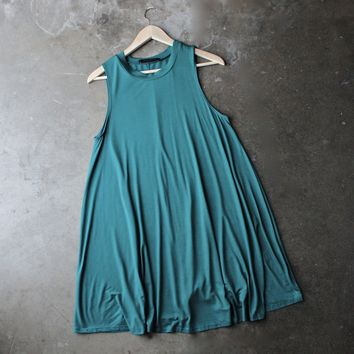 Final Sale - BSIC - Sleeveless Swing Dress in Teal