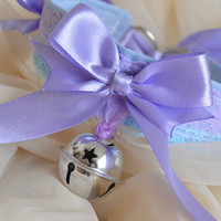Lavender princess - lilac and blue lolita lace collar with bell and big bow - kawaii cute kitten space pet play ddlg BDSM