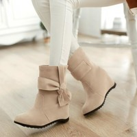 Knot Women Wedges Ankle Boots Artificial Suede Shoes Woman 2016 3375