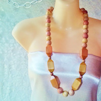 New Wooden Beads Boho Necklace Vintage Carve Round Square Tan Yellow Pink Wood Therapy Spa Beads Bohemian Beach Zen Woodland Folk Necklace