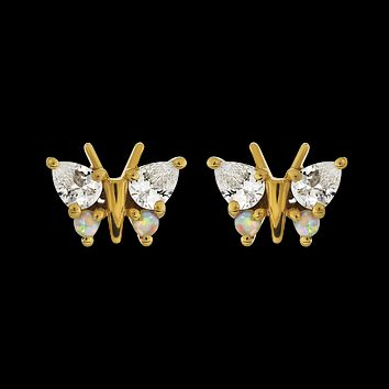Opal and Diamond Butterfly Belle Studs