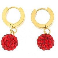 Ben and Jonah Stainless Steel Gold Plated Huggie Base Earring with Hanging Red Disco Ball with Red Stones