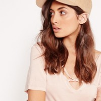 Missguided - Faux Suede Baseball Cap Nude