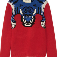 Gucci - Embellished intarsia wool sweater
