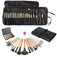 Pro Beauty Makeup Set Kits Fashion Concealer Contour Palette+24pcs Pro Make up Brushes+1 Drop shaped Puff+1 bag Ideal Choice Pop