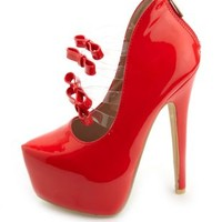 Bow-Topped Lucite Uber Platform Pumps by Charlotte Russe