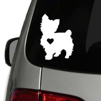 Yorkie Heart Decal | Yorkie Decal | Dog Family Decal | Car Decal | Yorkie | Yorkie Mom | Window Decal | Decal | Decals | Dog Decal