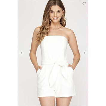 One More Glass Romper (Ivory)