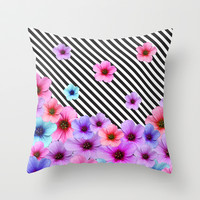 Floral Symphony Throw Pillow by Cafelab