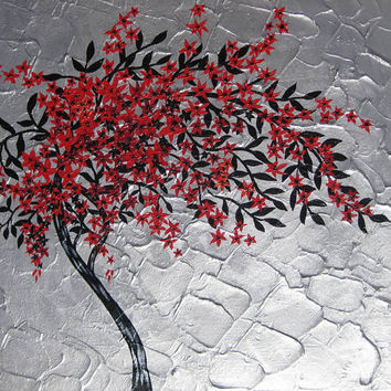 painting of a tree in red black silver gray grey modern zen art cherry blossom flower trees large abstract Japanese wall decor