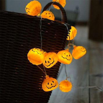 10 LED 1M Halloween Decoration Pumpkins LED String Lights Lanterns Lamp for DIY Home Bar Outdoor Party Supplies