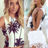 Palm Tree Cut-Out Top