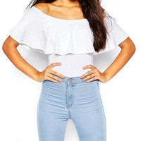 Summer Women Off Shoulder Backless Rompers Sexy Ruffles Bodysuit Crop Tops Blusa Womens Jumpsuit Bodycon Shirts Overalls 2017