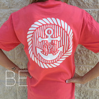 Anchor Stripe Southern Back Monogrammed Comfort Colors Short Sleeve Ringspun Tee with Front Pocket Area Mon. (Unisex) (No Pocket)