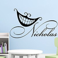 Custom Name Wall Vinyl Decal Alice in Wonderland Sticker Personalized Sticker For Boy Smile Cheshire Cat Decal Nursery Bedroom Decor C624