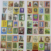 80 pcs lot (1 bag) DIY Vintage Retro Stamp Stickers London Paris Prince Alice Sticky Scrapbooking Paper