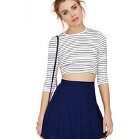 Blue High Waist Pleated Mini Skirt