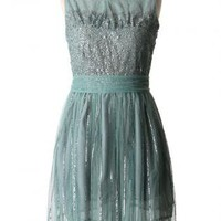 Green Tulle Dress with Sweetheart Sequin Top & Bow Back