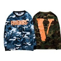 spbest High Quality Men VLONE Long sleeves T-Shirts Friends V Print Camouflage