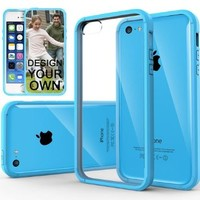 iPhone 5C Case, Caseology® [Fusion Series] Scratch-Resistant Clearback Cover [Sky Blue] [Dual Bumper] for Apple iPhone 5C - Sky Blue