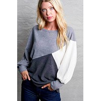 Shades of Gray Colorblock Top