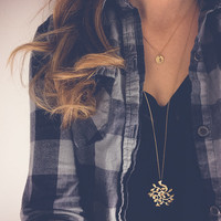 Long necklace with Bodhi tree pendant   Gold layering necklace, Tree jewelry