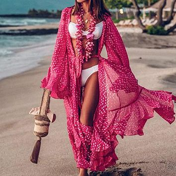 Pink Long Beach Dress  Sexy Sarong Ruffle Cover Up Long Sleeve Cover Ups Kimono Vintage Beach Wear Swimsuit