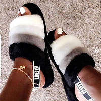 UGG Hight Quality Winter Fashion Slippers Women Retro Fluff Yeah Slipper Shoes Black/White