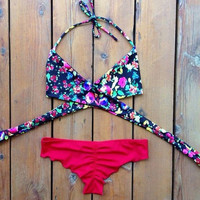 Fashion women triangle vintage floral bikini swimwear = 6014618311