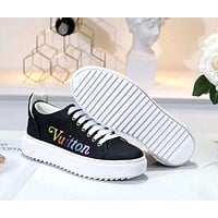 LV 2019 new TIME OUT rainbow letter embossed women's sneakers Black
