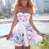 FLOWER BOMB DRESS , DRESSES, TOPS, BOTTOMS, JACKETS & JUMPERS, ACCESSORIES, $10 SPRING SALE, PRE ORDER, NEW ARRIVALS, PLAYSUIT, GIFT VOUCHER, $30 AND UNDER SALE, SWIMWEAR,,White,Print Australia, Queensland, Brisbane