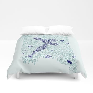 An emerald world is listening... Duvet Cover by anipani