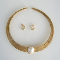 Wire Collar Necklace with Mabé Pearl Comp Earrings Vintage Wedding Jewelry