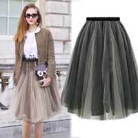 2015 New Summer Elegant Organza TuTu Skirt Fashion Wild Elastic Waist Pleated Skirts Women Size S- XL = 1946037316