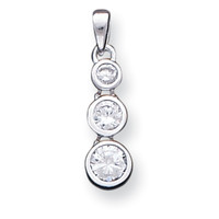Cubic Zirconia Pendant in Sterling Silver - Round Shape - Stunning