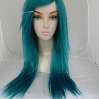 ON SALE / Teal Blue Green / Long Straight Layered Wig