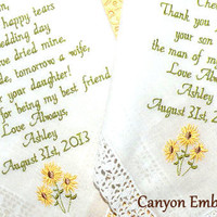 Embroidered Wedding Handkerchief, Sunflowers, Rustic Sunflower Wedding, Rustic, RUSTIC WEDDING, Rustic Country Wedding,Canyon Embroidery