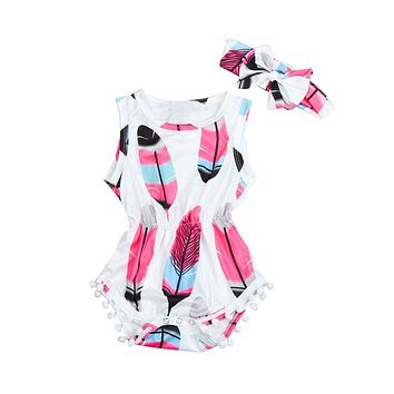 Infant Kids Baby Girls Sleeveless Feather Romper
