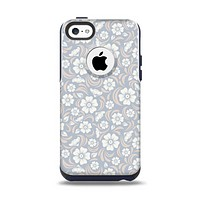 The Subtle White and Blue Floral Laced V32 Apple iPhone 5c Otterbox Commuter Case Skin Set