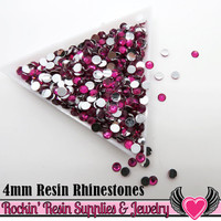 4mm 1000 pc Hot Pink Flatback Resin Rhinestones (RR4)