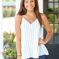 Compare and Contrast Tank - Ivory and black